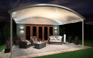Curved Patio Roof With Lighting